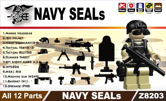 NAVY SEALS(II) 12+Parts -Black +Giftx1